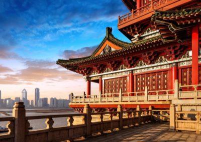 Old Architecture Overlooking Modern Beijing