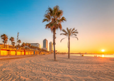 Sunrise on Barceloneta Beach in_Barcelona