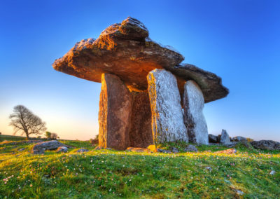 5,000 year old Poulnabrone Portal Tomb at Sunrise, Burren