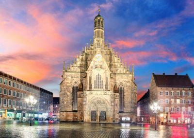 Hauptmarkt with Frauenkirche church andmarketplace in Nuremberg